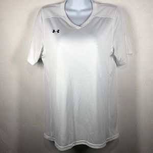 Under Armour white heat gear loose fit tee size m
